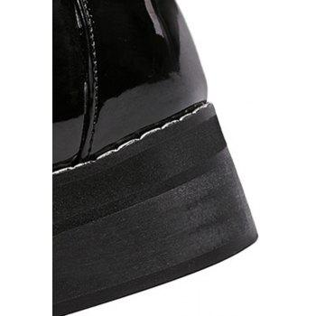 Preppy Buckle and Black Design Flat Shoes For Women - BLACK BLACK