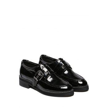 Preppy Buckle and Black Design Flat Shoes For Women - 38 38