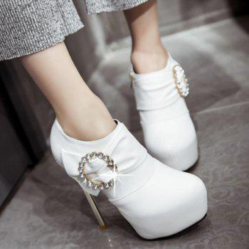 Stylish Platform and Stiletto Heel Design Women's Ankle Boots - WHITE 37