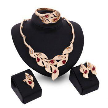 Fake Ruby Leaf Shape Necklace Bracelet Ring and Earrings
