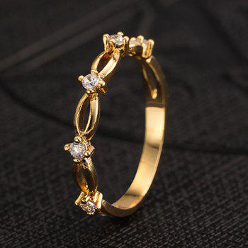 Rhinestone Decorated Hollow Out Ring - GOLDEN ONE-SIZE