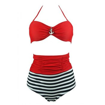 Brief Women's Halter Anchor Embellished Stripe Bikini Set