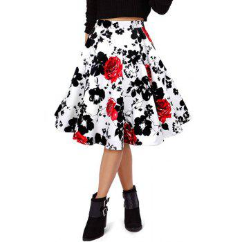 Stylish High Waist Red Floral Women's Flare Skirt