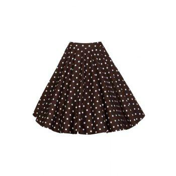 Stylish High Waist Polka Dot Print Women's Flare Skirt
