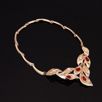 Fake Ruby Leaf Shape Necklace Bracelet Ring and Earrings - RED ONE-SIZE
