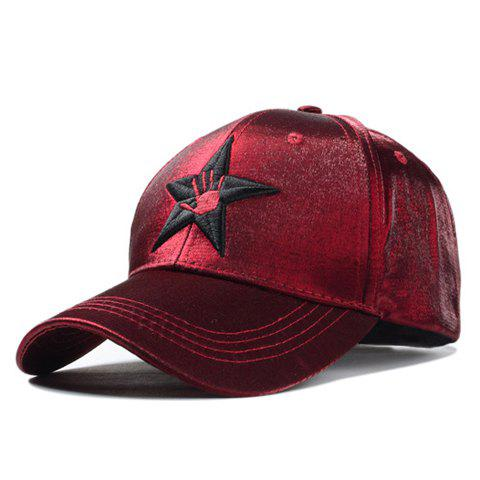 Stylish Hand and Star Embroidery Men and Women's Baseball Cap - RED