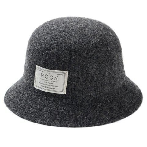 Chic Letter Label Embellished Solid Color Women's Faux Wool Bucket Hat - DEEP GRAY