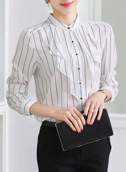 Elegant Women's Stand Collar Striped Ruffled Long Sleeve Chiffon Blouse