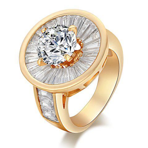 Chic Round Shape Rhinestone Decorated Ring For Women - ONE-SIZE GOLDEN