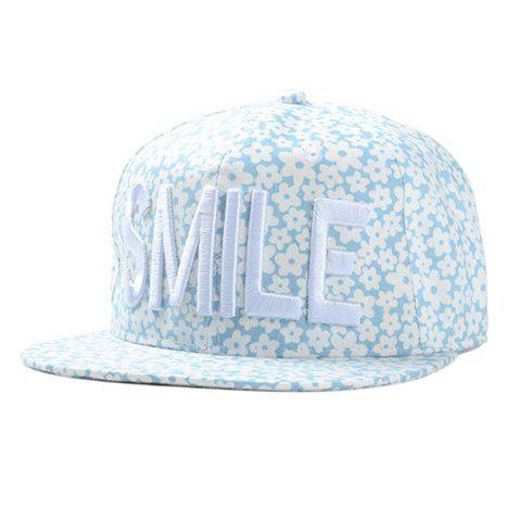 Chic Letter Embroidery Fulled Flowers Pattern Women's Baseball Cap - LIGHT BLUE