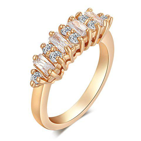Exquisite Rectangle Faux Crystal Decorated Ring For Women - GOLDEN ONE-SIZE