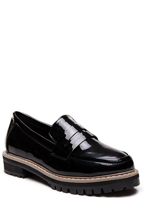 Preppy Solid Color and Round Toe Design Flat Shoes For Women - BLACK 36