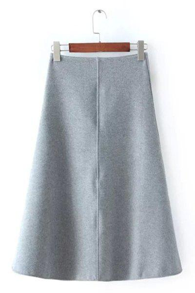 Elegant Solid Color A-Line Women's Midi Skirt - GRAY M