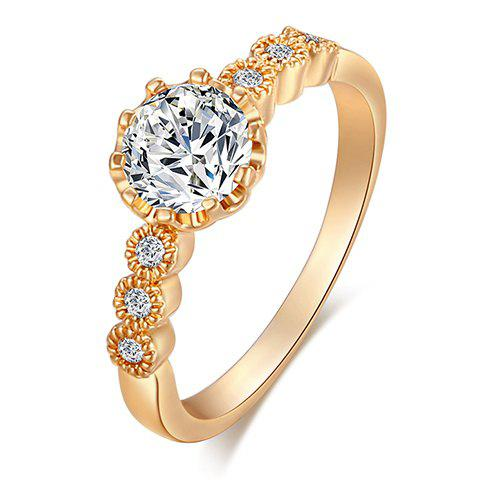 Delicate Simple Style Rhinestone Decorated Prong Setting Ring For Women - GOLDEN ONE-SIZE