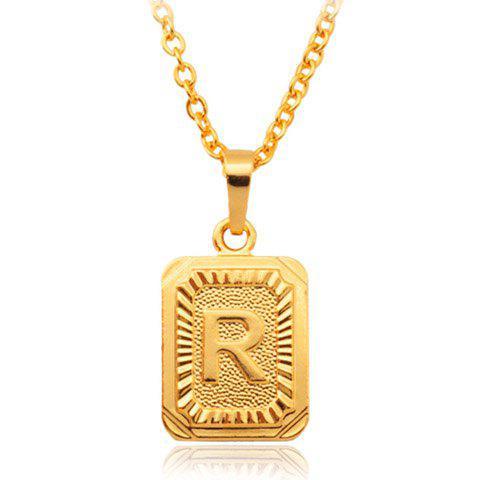 Printed Letter R Rectangle Pendant Necklace - GOLDEN