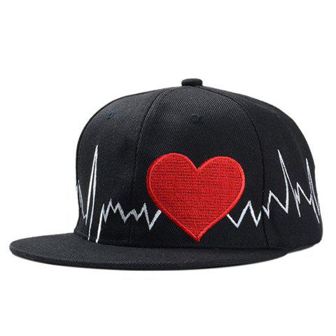 Chic Electrocardiogram and Heart Embroidery Women's Baseball Cap - BLACK