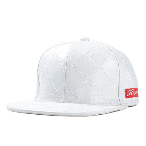 Stylish Rectangle Letters Label Embellished Plaid PU Men's Baseball Cap - WHITE
