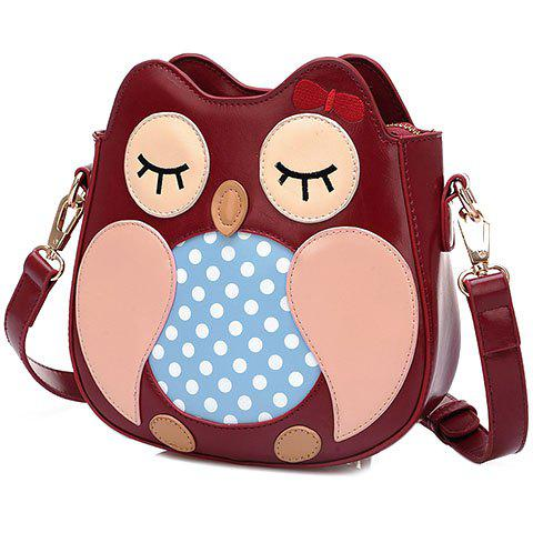 Cute Polka Dot and Owl Shape Design Women's Crossbody Bag