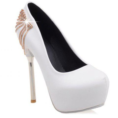 Stylish Rhinestones and Stiletto Heel Design Women's Pumps - WHITE 39