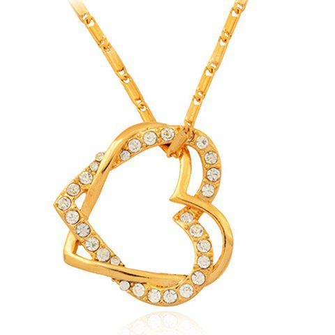 Stunning Rhinestoned Double-Layered Heart Pendant Necklace For Women - GOLDEN