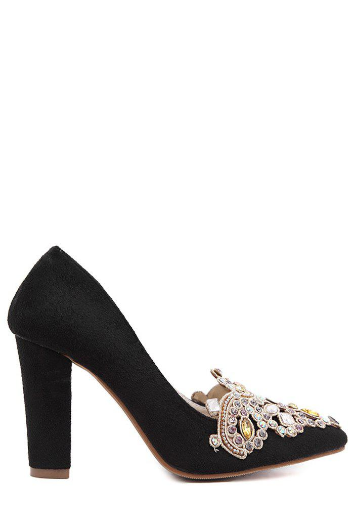 Gorgeous Colorful Rhinestone and Suede Design Pumps For Women - BLACK 38