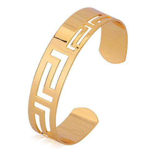 Trendy Solid Color Hollow Out the Great Wall Carving Bracelet For Women - GOLDEN