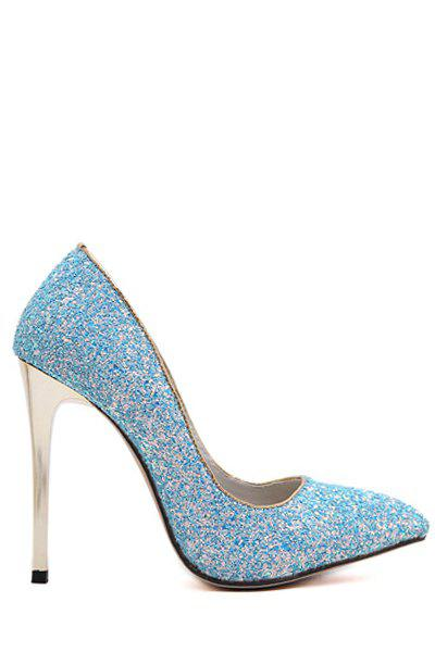 Sexy Sequins and Solid Color Design Pumps For Women - BLUE 36