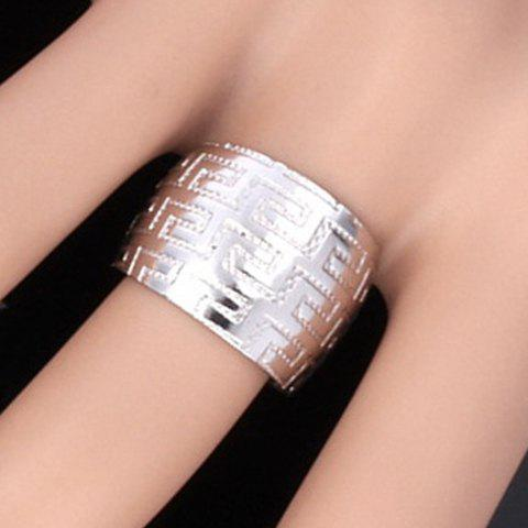 Chunky Stainless Steel The Great Wall Carving Cuff Ring - SILVER ONE-SIZE