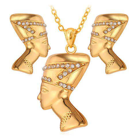 A Suit of Stylish Rhinestone Pharaoh Shape Pendant Necklace and Earrings For Women - GOLDEN