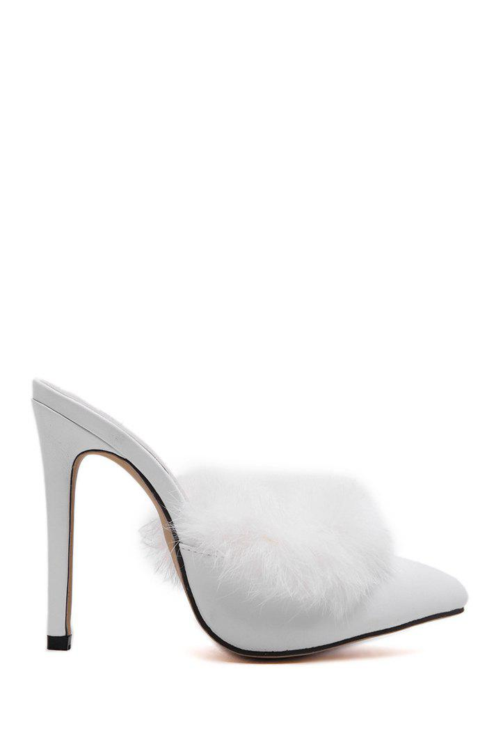 Sexy Pointed Toe and Faux Fur Design Slippers For Women - WHITE 37