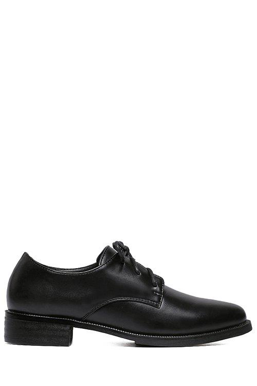 Preppy Lace-Up and Black Design Flat Shoes For Women - BLACK 36