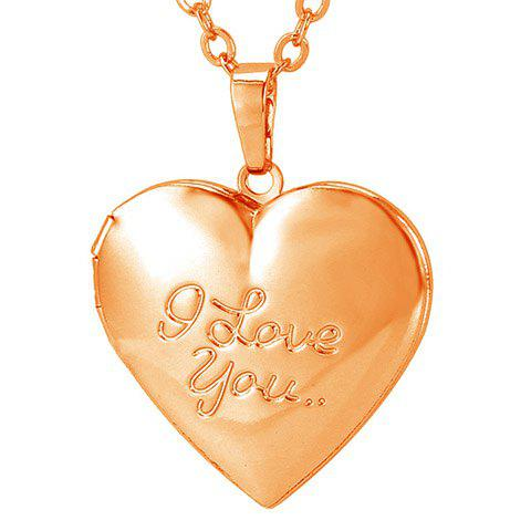 Charming Engraved I Love You Pattern Heart Pendant Necklace For Women - GOLDEN