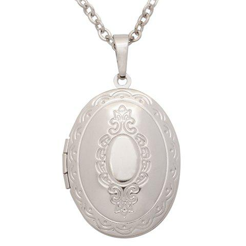 Graceful Alloy Oval Locket Necklace For Women - SILVER