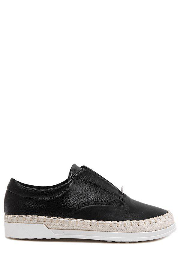 Casual Weaving and Elastic Design Flat Shoes For Women - BLACK 37