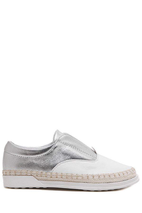 Leisure Weaving and Elastic Design Flat Shoes For Women - SILVER 37