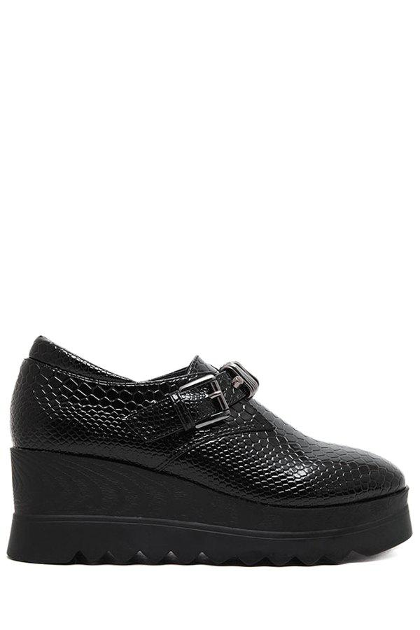Trendy Embossing and Buckle Design Platform Shoes For Women - BLACK 38