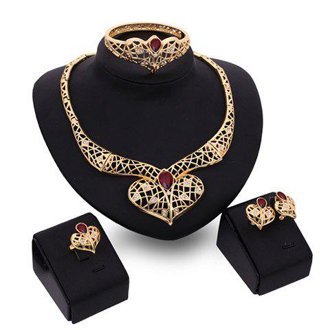 A Suit of Noble Faux Ruby Heart Shape Necklace Bracelet Ring and Earrings For Women