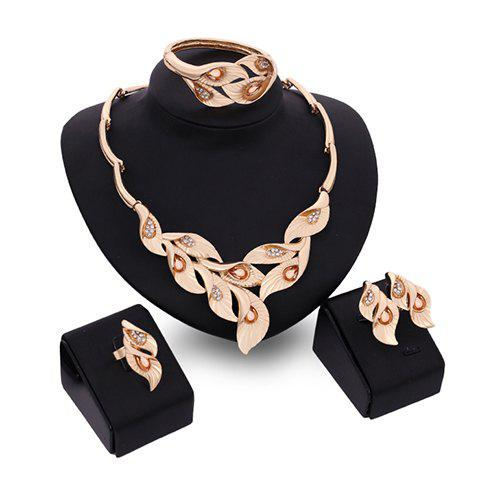 A Suit of Noble Faux Crystal Leaf Shape Necklace Bracelet Ring and Earrings For Women  a suit of charming leaf shape necklace and earrings for women