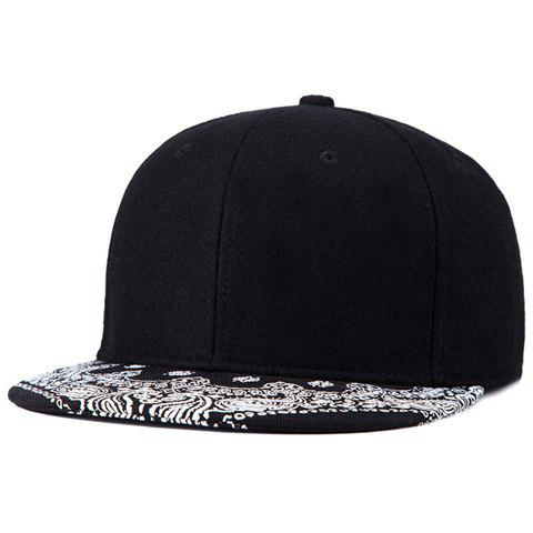 Stylish Ethnic Paisley Pattern Brim Black Felt Baseball Cap For Men - BLACK