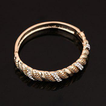 A Suit of Elegant Rhinestone Hollow Out Necklace Bracelet Ring and Earrings For Women - GOLDEN ONE-SIZE