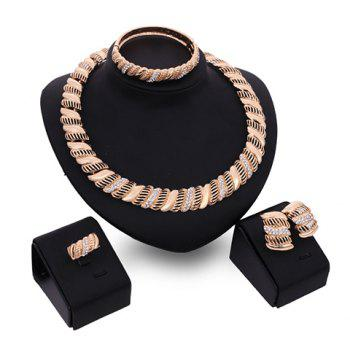 A Suit of Elegant Rhinestone Hollow Out Necklace Bracelet Ring and Earrings For Women