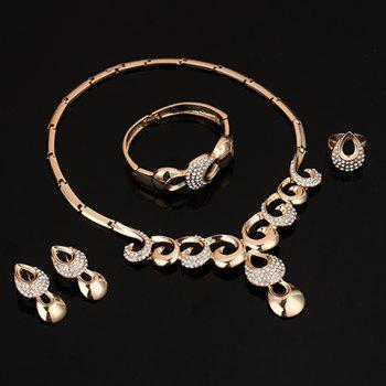 A Suit of Rhinestone Water Drop Jewelry Set - GOLDEN ONE-SIZE