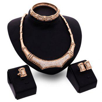 A Suit of Elegant Rhinestone Bamboo Necklace Bracelet Ring and Earrings For Women