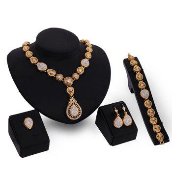 Rhinestone Embellished Water Drop Jewelry Set