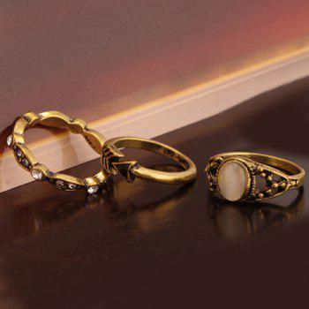 A Suit of Retro Faux Opal Rings - GOLDEN ONE-SIZE