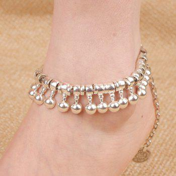 Punk Coin Ball Drop Tassel Beaded Anklets - SILVER SILVER