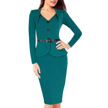 OL Style Women's Sweetheart Neck Solid Color Long Sleeve Dress