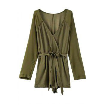 Stylish Deep V Neck Long Sleeve Self-Tie Belt Women's Romper