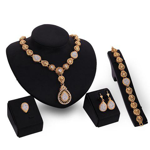 Rhinestone Embellished Water Drop Jewelry Set - ONE-SIZE GOLDEN