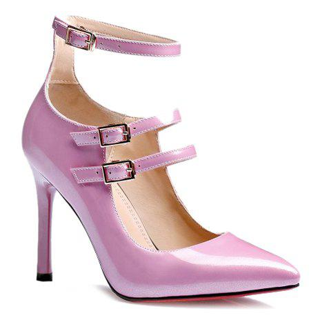 Trendy Ankle Strap and Buckles Design Women's Pumps - PINK 38